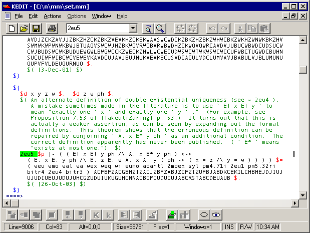 Screenshot of theorem 2eu5 from set.mm in a text editor